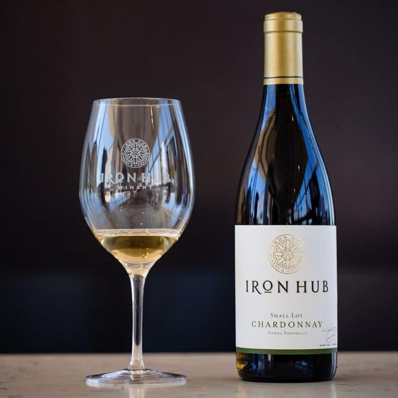 Iron Hub Chardonnay wine glass and bottle